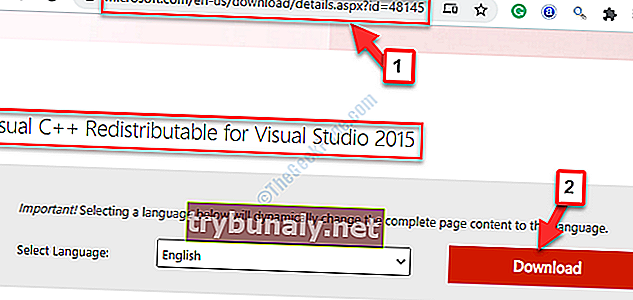Browser Microsoft Link Visual C ++ ridistribuibile per Visual Studio 2015 Download
